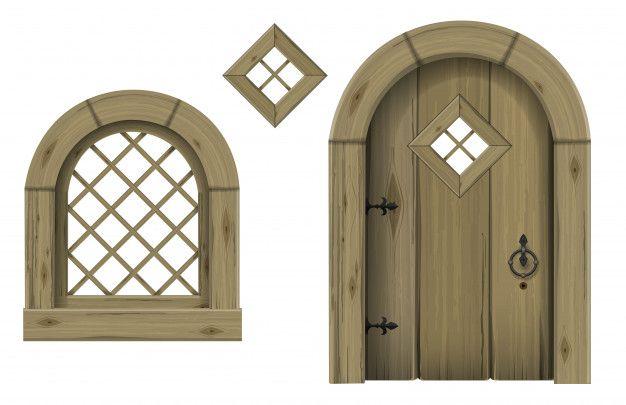 Antique Wooden Arched Door And Window