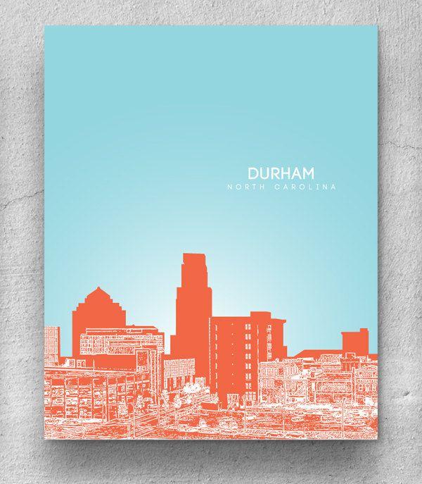 Durham North Carolina City Skyline Nursery Art Home Wall Housewarming Gift Office Decor Any Or Landmark
