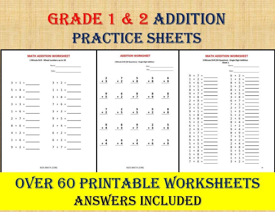 Math Addition Worksheets for Grade 1, 2/ pdf/ Year 1,2