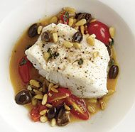 black cod with pine nuts, tomatoes  olives @finecooking.com
