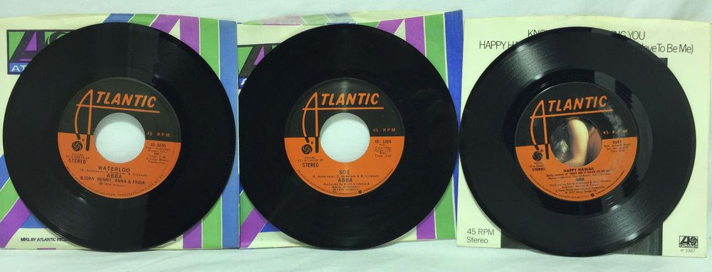 Abba Lot Of 3 45 Records Man In The Middle Sos Waterloo Happy Hawaii Knowing Me 45 Records Vinyl Records Records