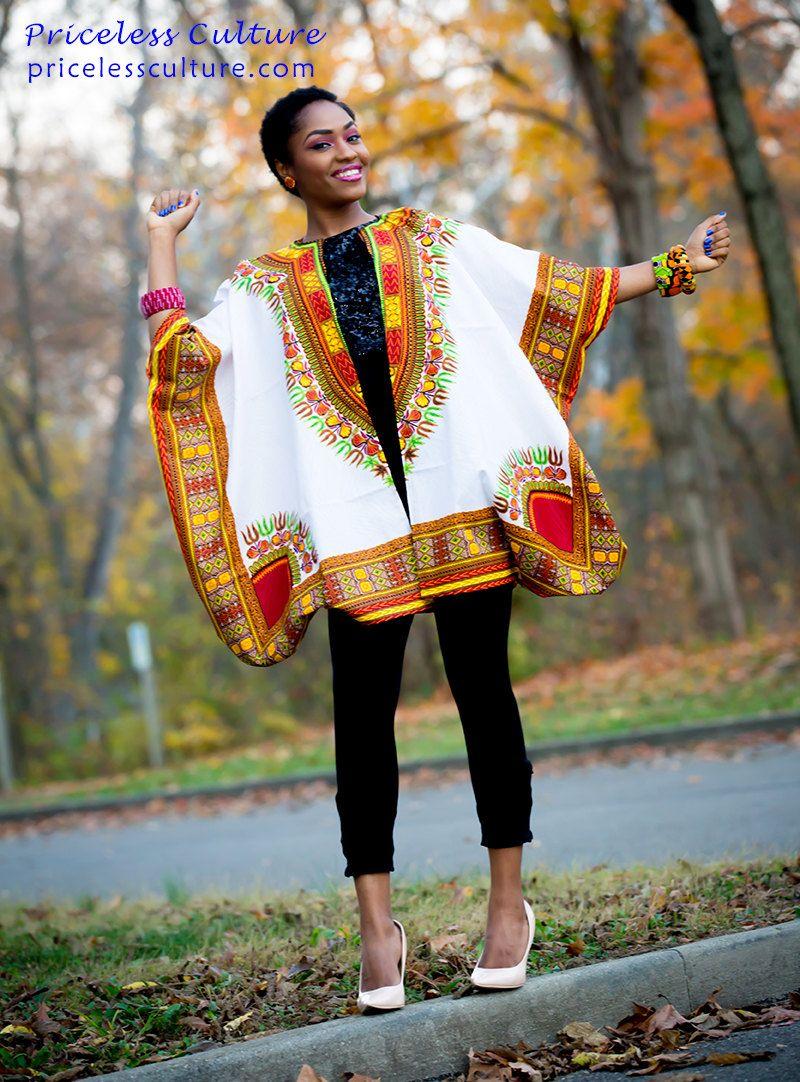 Dashki Fabric African Fashion Ankara Kitenge African: Dashiki Kimono African Kimono Ankara Poncho Kitenge Kimono