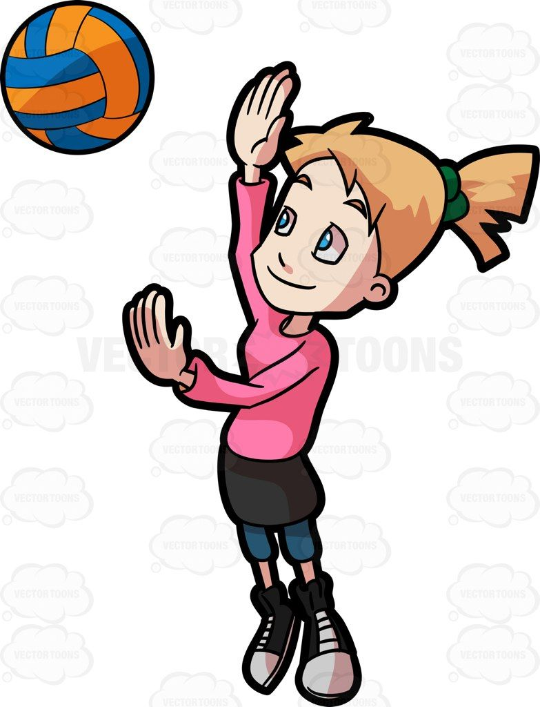 A Preadolescent Female Playing Volleyball Black And White Sneakers Short Black Skirt Orange Design