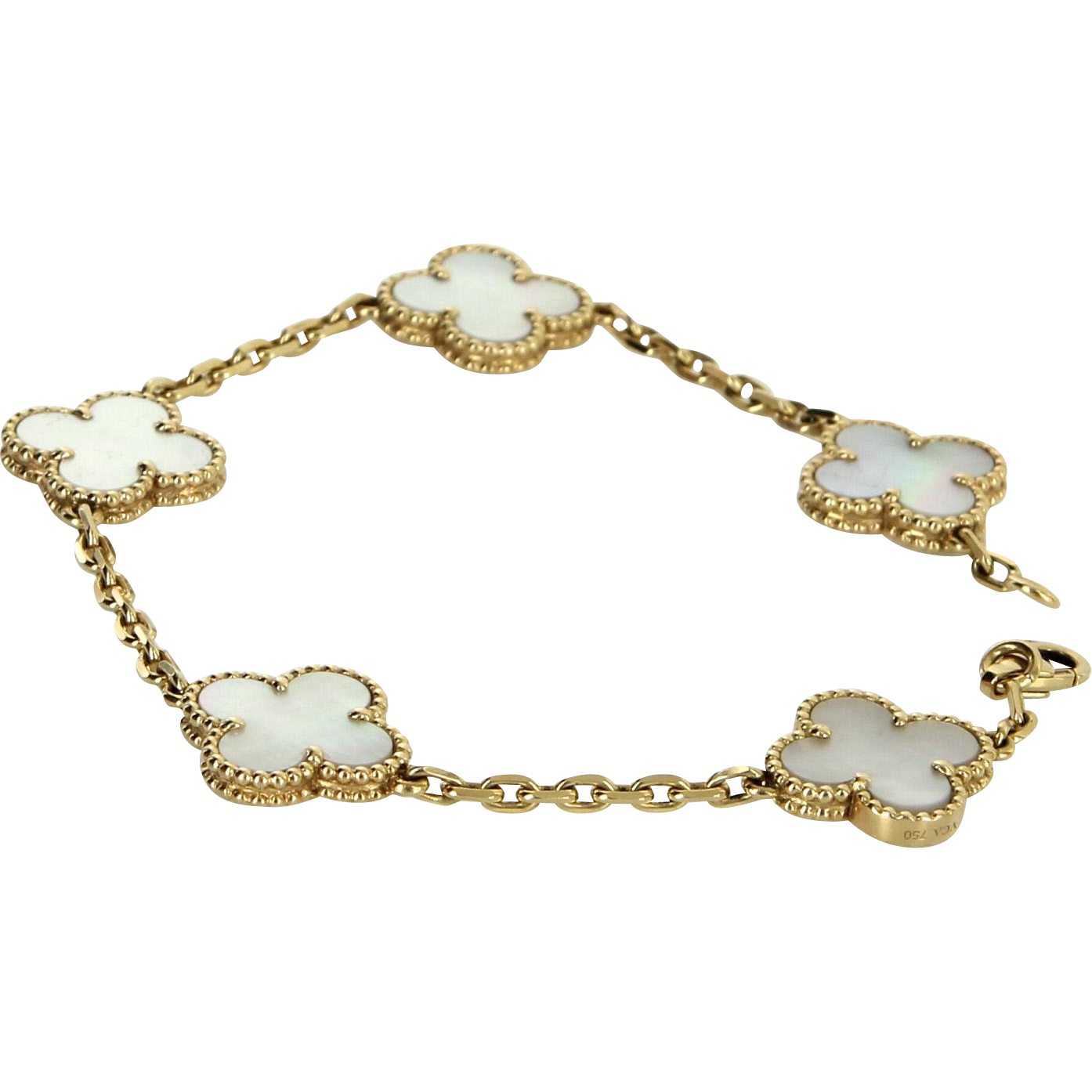 frames clover five in textured arpels shaped p cable the bracelet an designed on beaded with betteridge yellow stations van cleef alhambra vintage gold