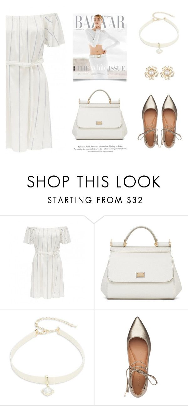 """""""Off Shoulder"""" by dreammints ❤ liked on Polyvore featuring Dolce&Gabbana, Design Lab, Sigerson Morrison, H&M, gold, white and offshoulderdress"""