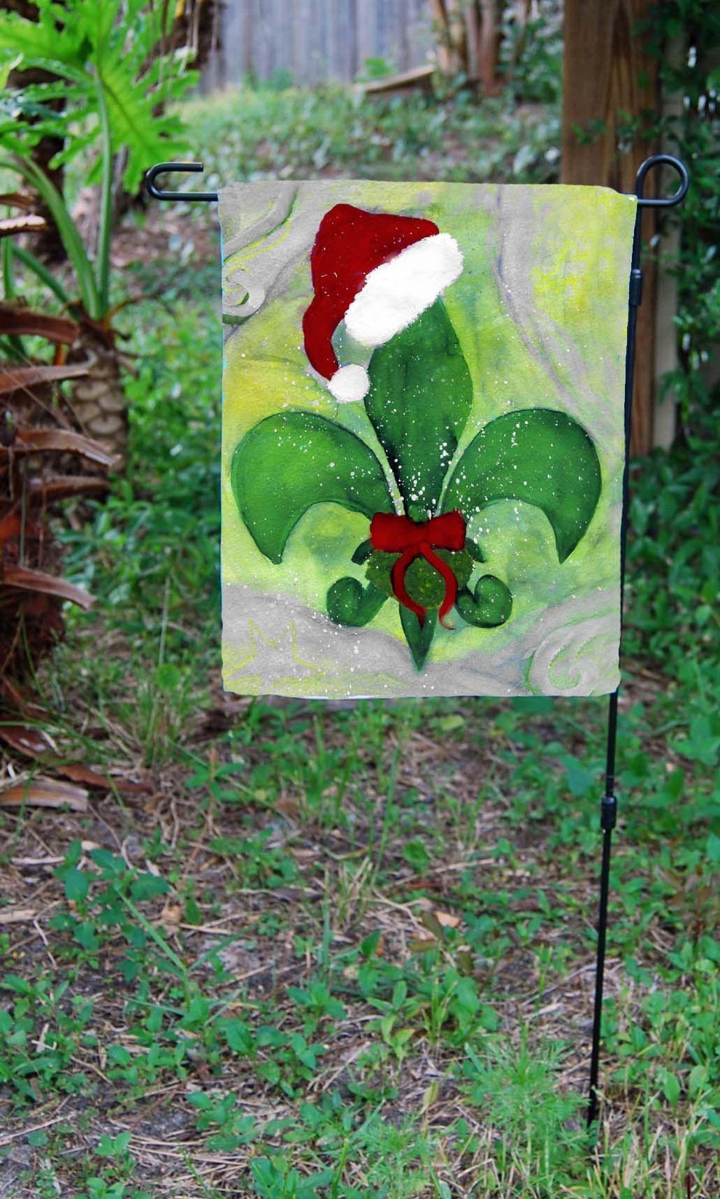 Santa Christmas fleur de lis garden flag | Santa christmas, Flags ...