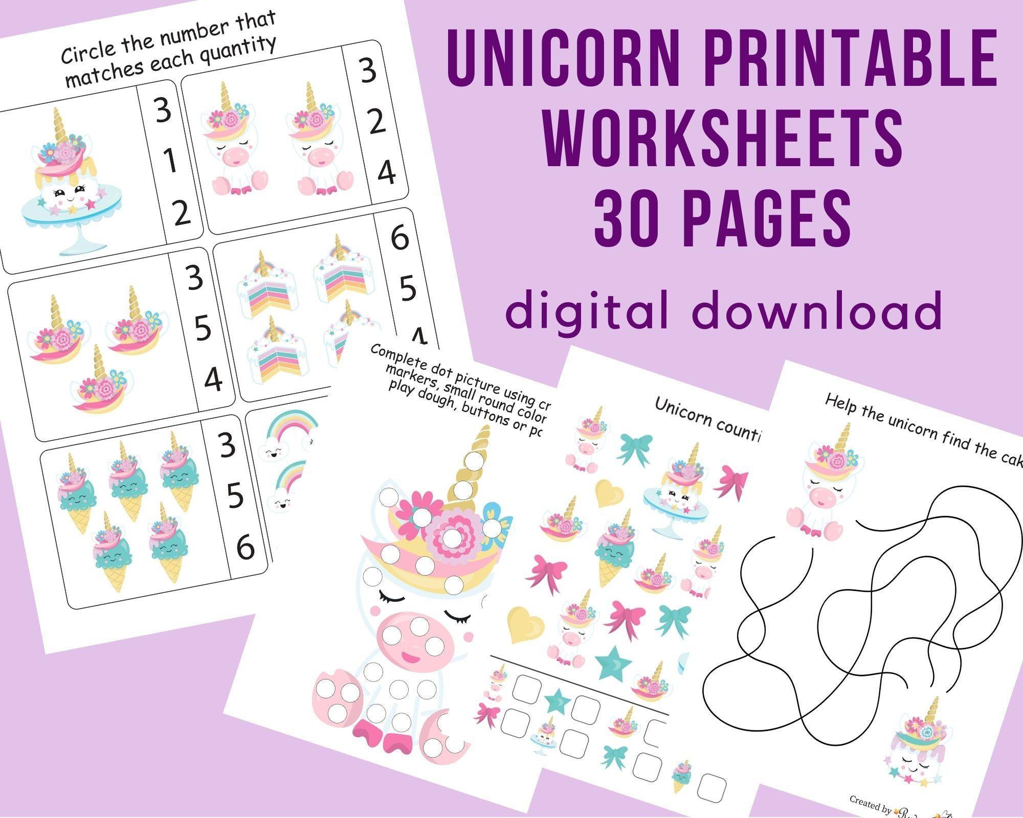 Unicorn Preschool Printables Worksheets For Kindergarten