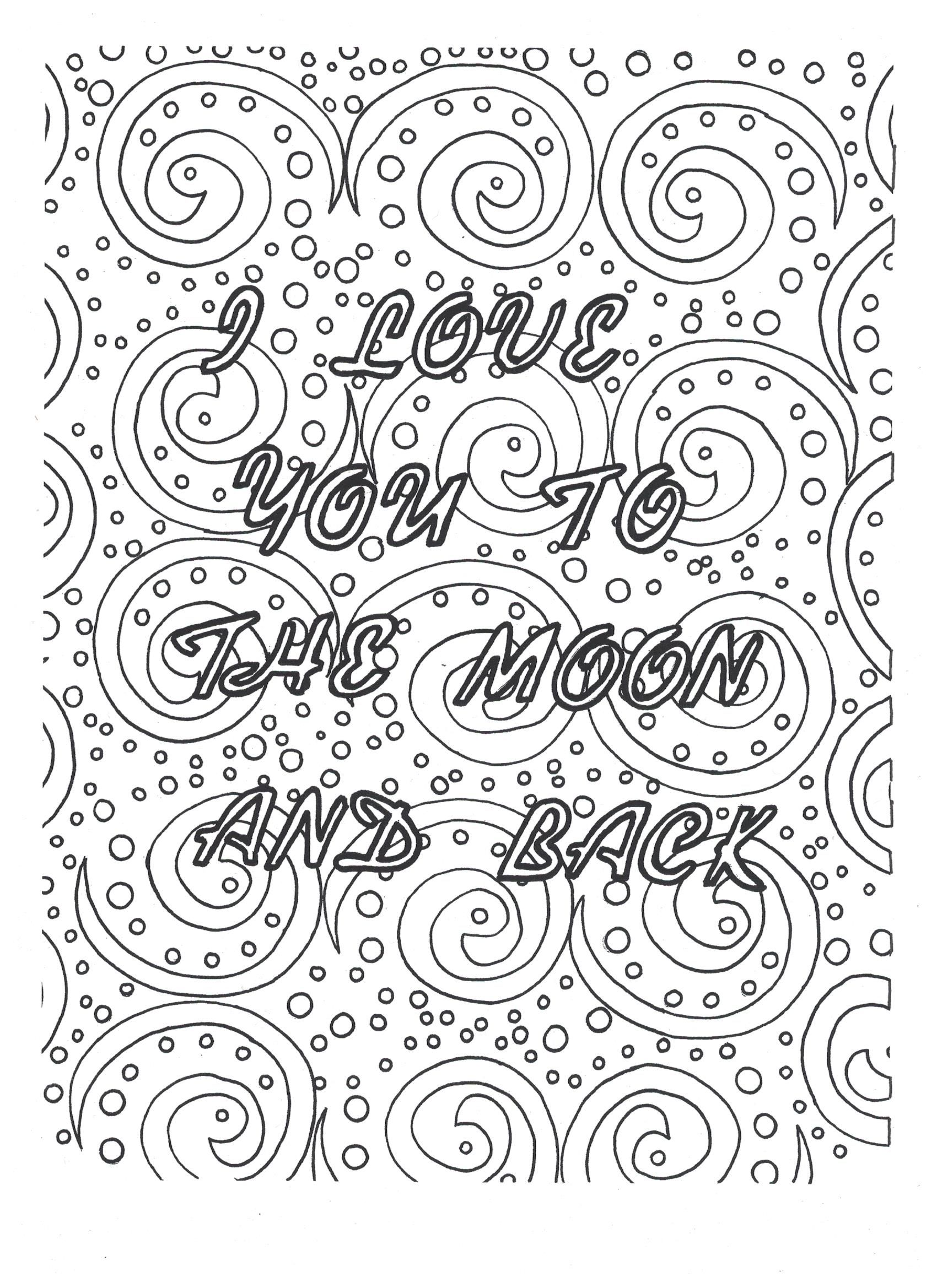 I Love You To The Moon And Back Coloring Page Click Download On ETSY