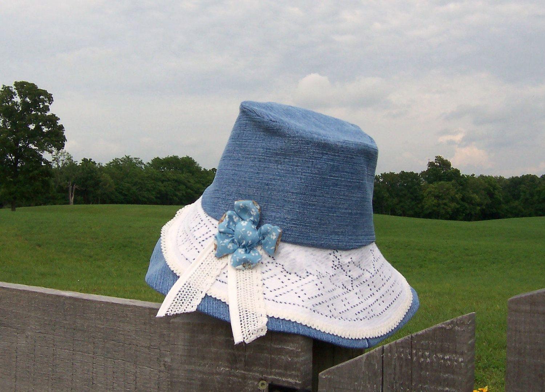 8de618fdee84f Sun Hat Women s Garden Hat Wide Brim Upcycled Denim Yard Work