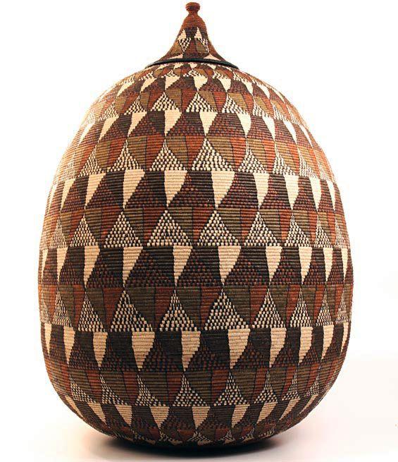 African Woven Baskets: 'Ukhamba' Basket Woven By The Zulu People Of