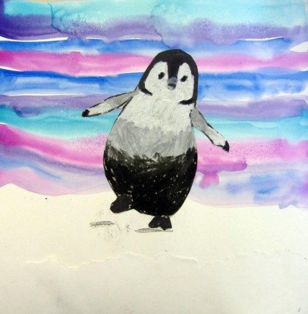 Oil pastel penguin and painted background