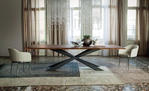 moderner esstisch cattelan spyder rechteckig stahl holz | Tisch ...