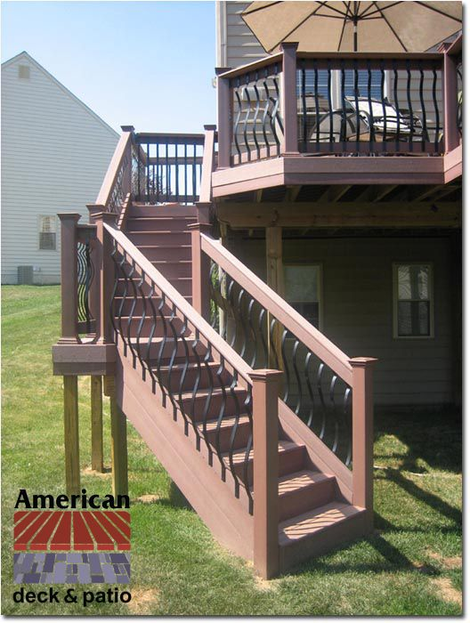Bel Air, MD - Baroque Balusters - Steps to Five sided landing with steps to grade.