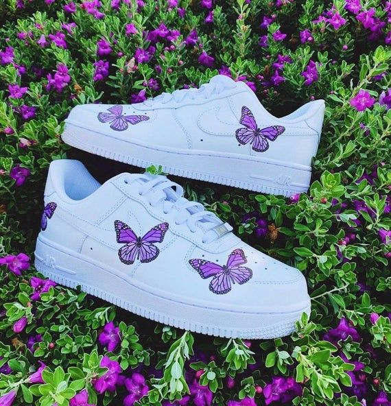 Purple Butterfly Air Force 1s   Custom Sneakers, Air Force