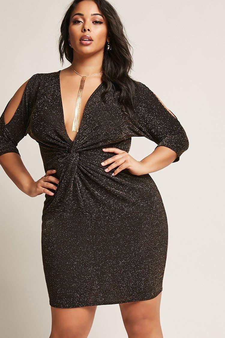 2074497ff2 Plus Size Metallic Twist-Front Dress - Plus Size Party Dress  plussize