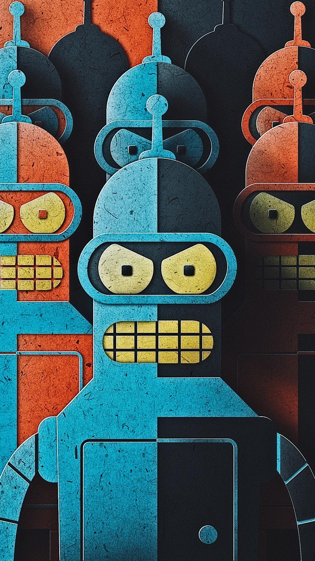 Bender Cartoon Wallpaper Cute Mobile Wallpapers Futurama