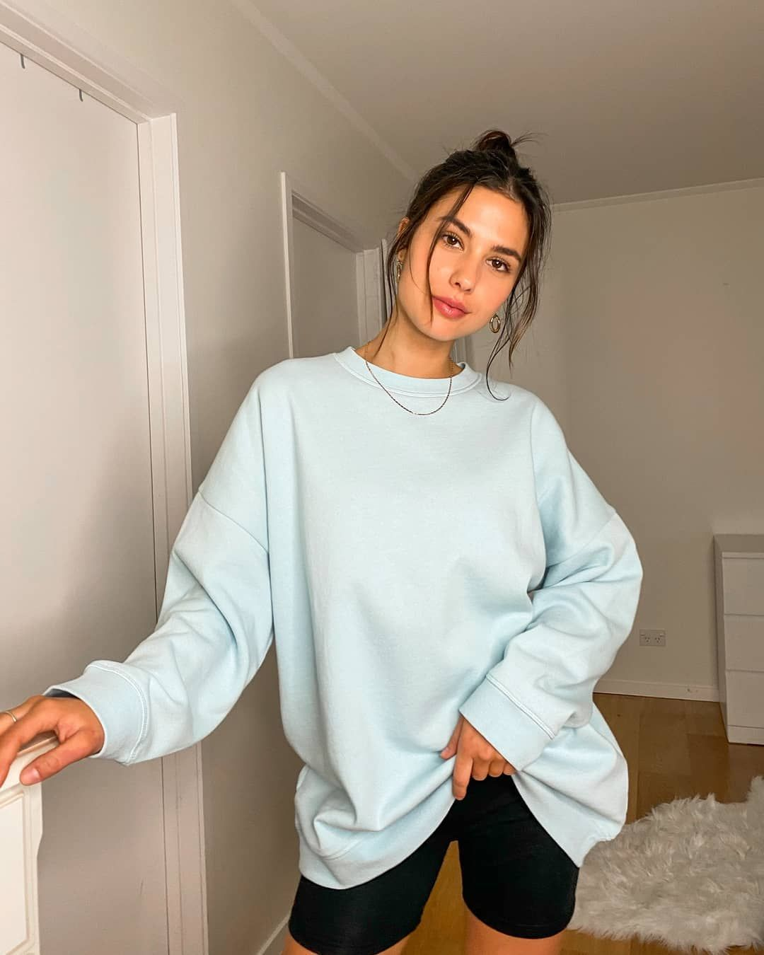 Glassons On Instagram Cosy In The Oversized Crewneck Sweatshirt Colours Vary Between Country And Cotton Bike Short Shop Yours Online Now Glassons [ 1350 x 1080 Pixel ]