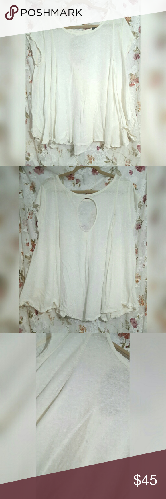 We The Free Boho White Top Great condition,  just a few stains on front (shown in photo) but they are not very noticeable. No size shown but looks like a loose fit large. Free People Tops
