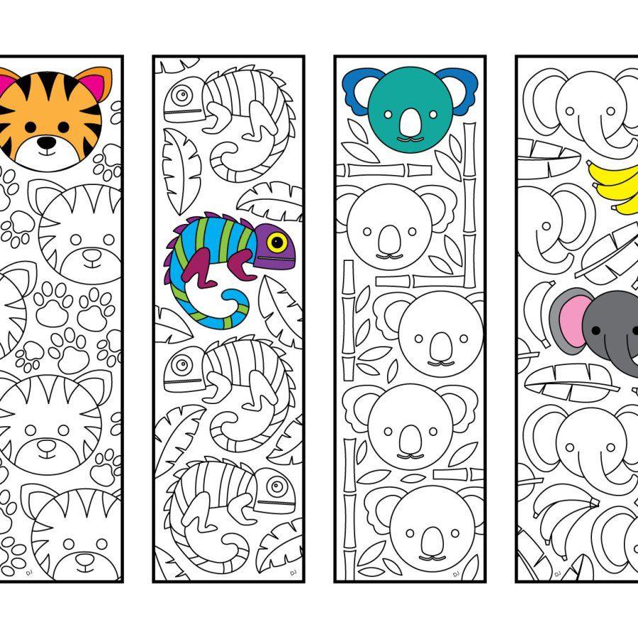 Cute Jungle Animal Bookmarks Pdf Zentangle Coloring Page Mandala Kleurplaten Boekenleggers Bladwijzer Kinderen