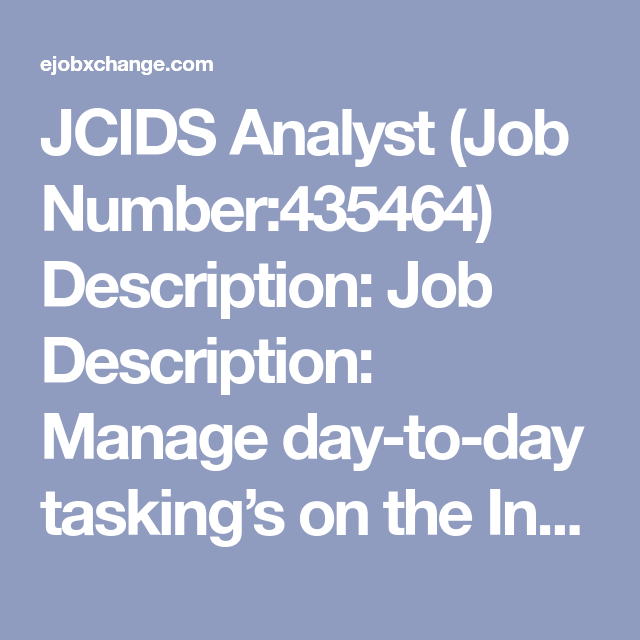 Jcids Analyst Job Number Description Job Description
