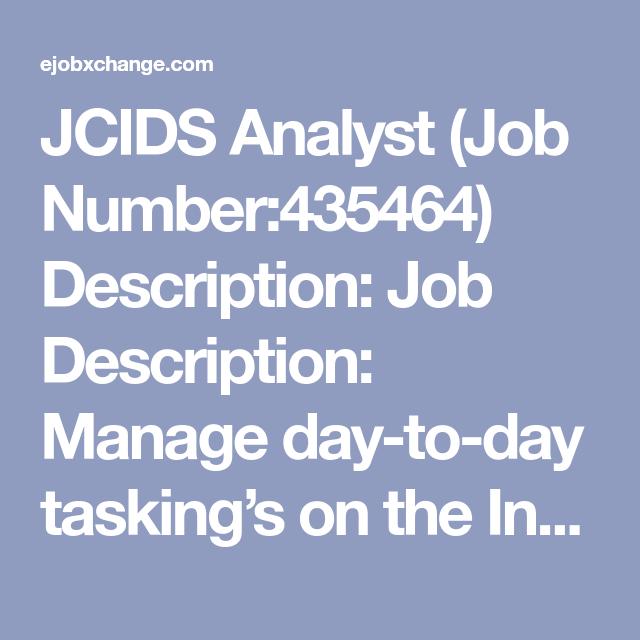 Jcids Analyst Job Number Description Job Description