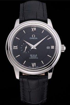 Omega De Ville Prestige Co-Axial Black Dial Silver Case Black Leather Strap Roman Numeral