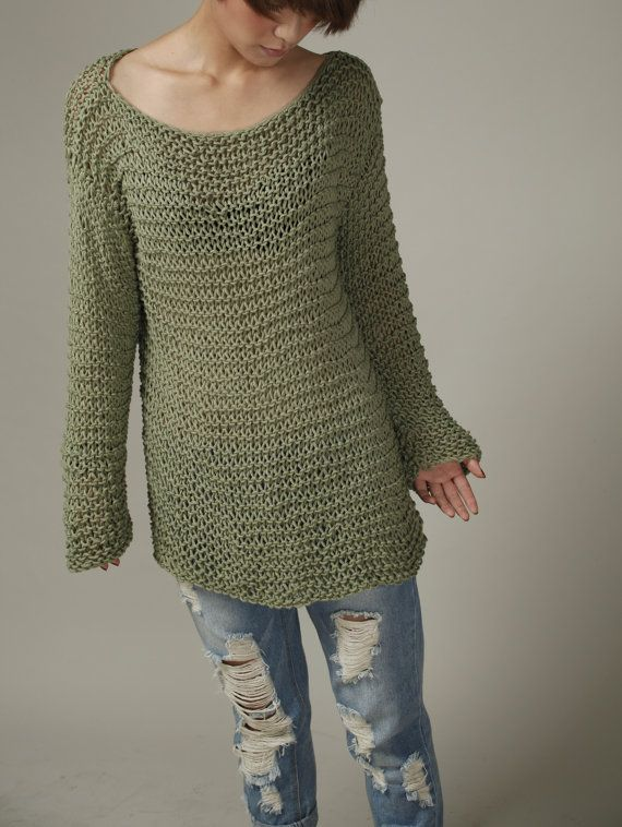 Hand knit sweater - Eco cotton oversized sweater in Frost Green ... 0d988b5b1b97