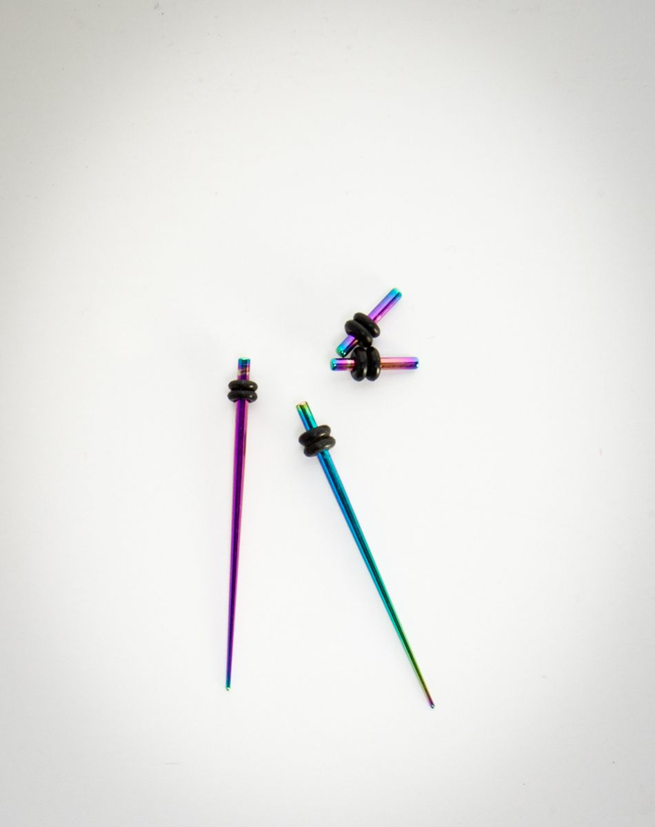 14 Gauge Anodized Rainbow Steel Plug and Taper Set | Piercings ...