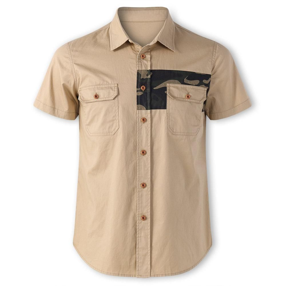 Chest Pocket 100 Cotton Work Shirt Khaki Kamuflaj Fit