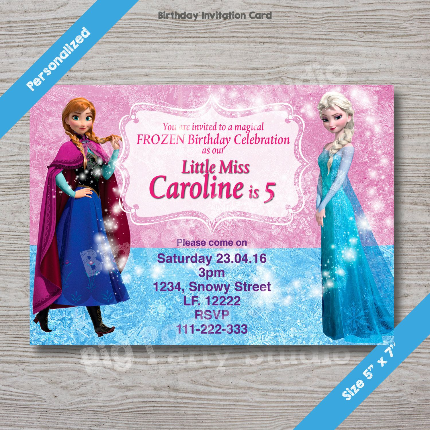 Disney Frozen Elsa & Anna Personalized Happy Birthday Invitation ...