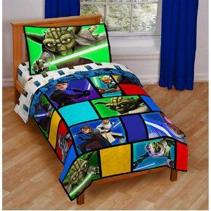 Star Wars The Clone Wars 4pc Toddler Bedding Set Toddler Bed Set Star Wars Toddler Bed Star Wars Bed