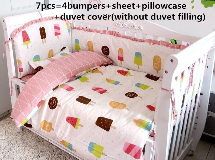 Promotion 6 7pcs Kit De Berco Cotton Baby Crib Bedding Set Animal