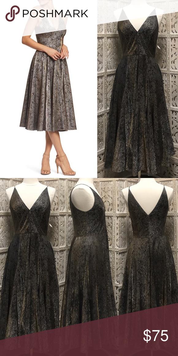 DRESS THE POPULATION Delilah Fit Flare Midi Dress New DRESS