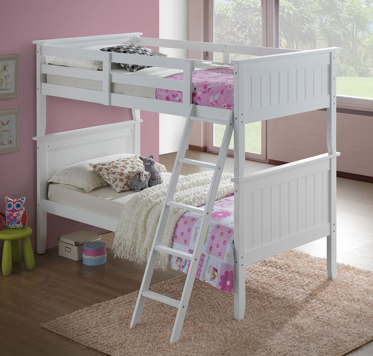 Twin over Twin Panel Bunk Bed in White by Donco Kids
