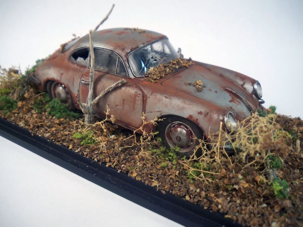 1963 Porsche 356 Carrera 2 Barn Find Custom Weathered Diorama Original 1 43 Spark