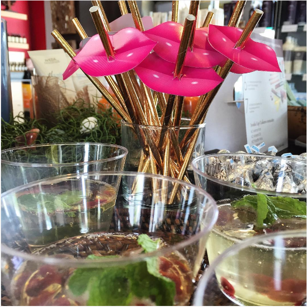 We're celebrating National Lipstick Day with a Nourish-mint Cocktail— King's ginger + Prosecco, pomegranate arils and fresh mint. #nationallipstickay #pureaveda #aveda #mountdora