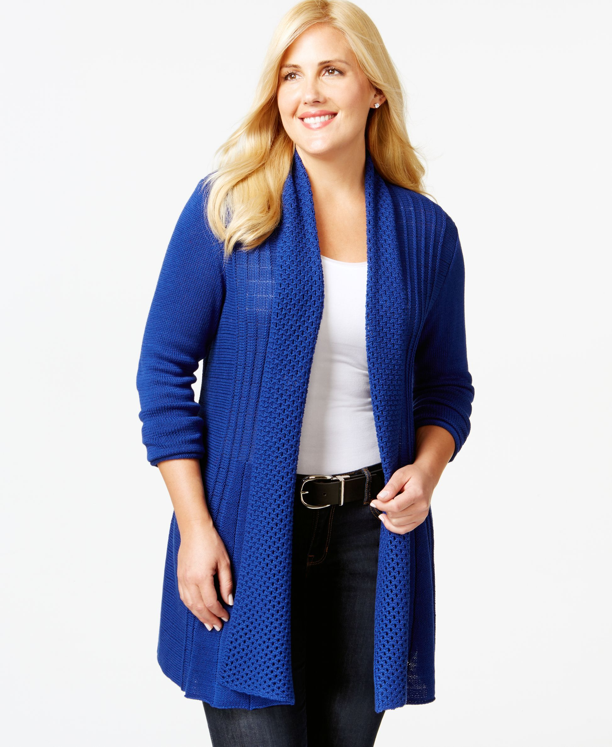Ny Collection Plus Size Pointelle-Knit Duster Cardigan   Products ...