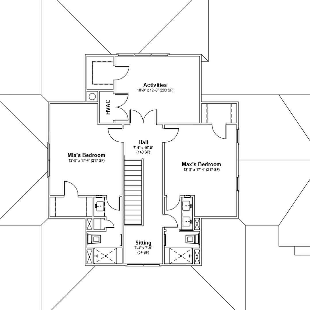 Four Gables Plan 1st And 2nd Floor Plan Modifications Added An Office Adjacent To Master Suite And Wet Bar In Living R Gable House Floor Plans How To Plan