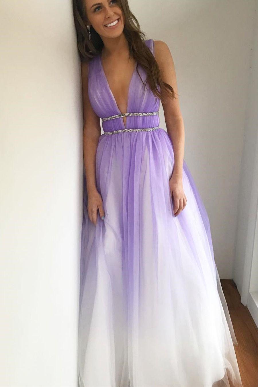 Princess A Line V Neck Ombre Purple Long Evening Dress Purple Prom Dress Ombre Prom Dresses Backless Prom Dresses [ 1350 x 900 Pixel ]
