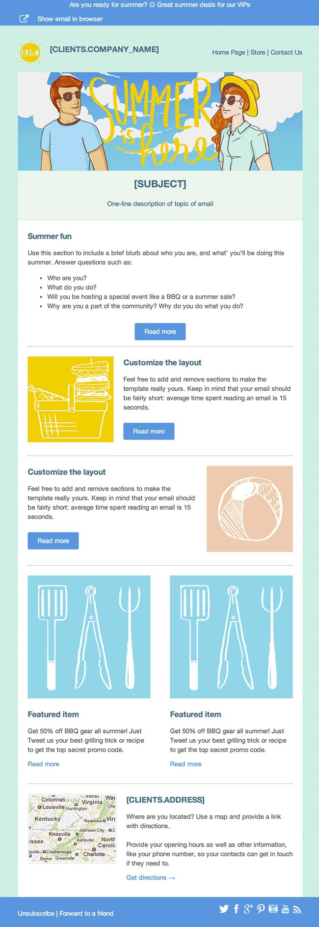free summer newsletter template cakemail makes it easy to send