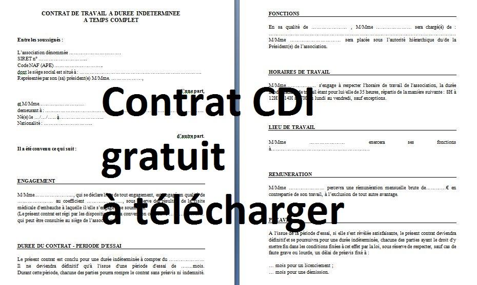 Contrat De Travail Cdi Pdf Bazga Modele Contrat De Travail Contrat Contrat Cdi
