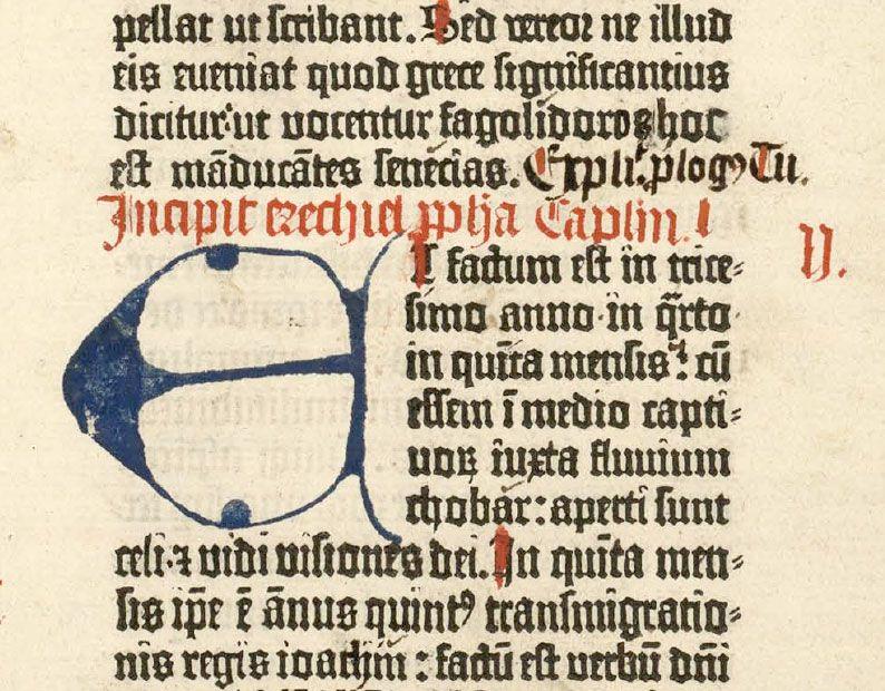 Blue Letter E And Rubrication At The Beginning Of Ezekiel Gutenberg Bible