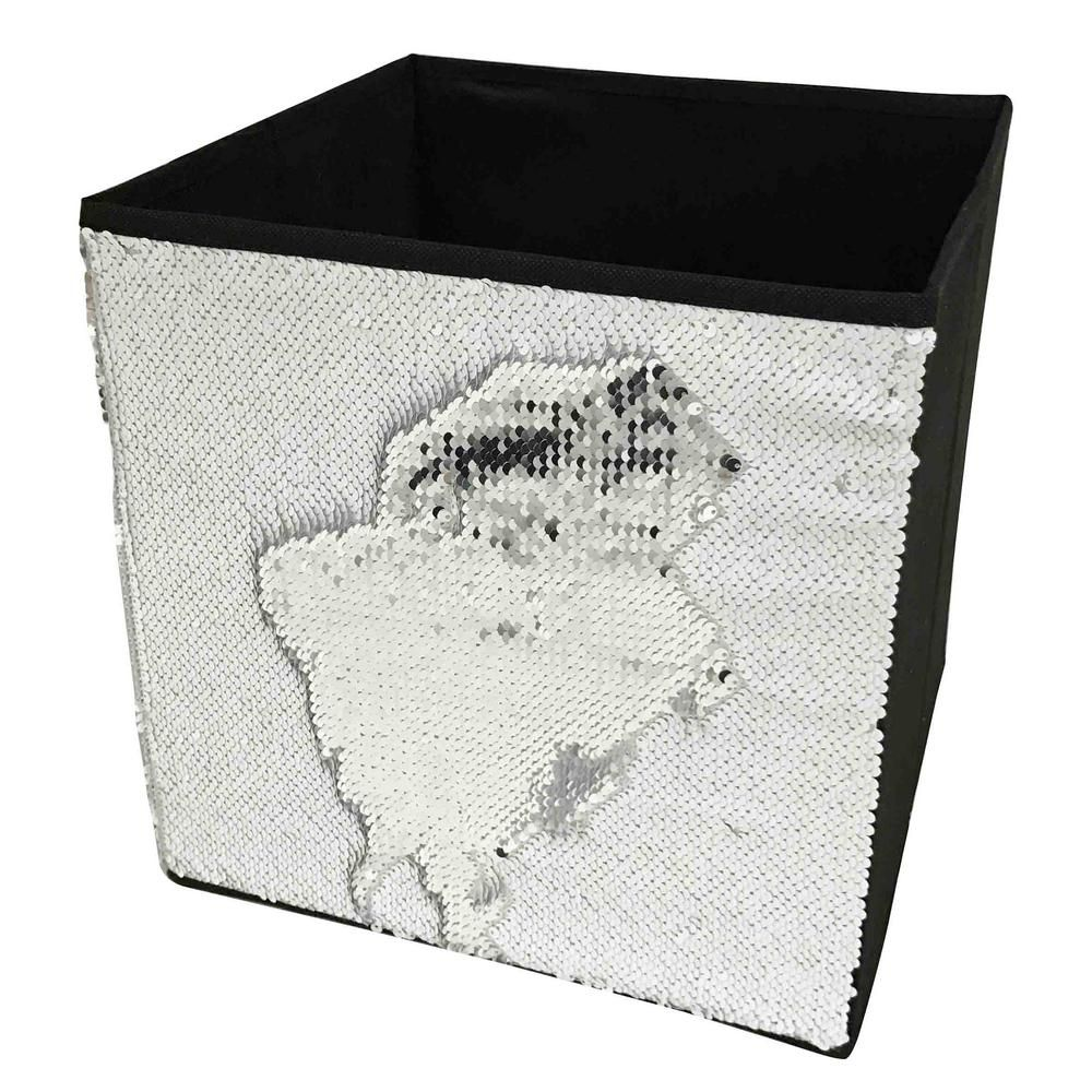 Home Basics 12 In X 12 In White Linen And Sequin Storage Bin White Silver Black Storage Bins Fabric Bins Fabric Storage Boxes