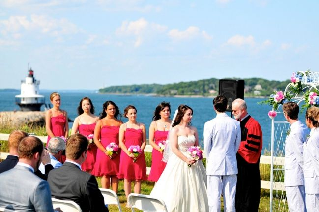 Southern Maine Community College Wedding Ceremony Out By The Water And Lighthouse