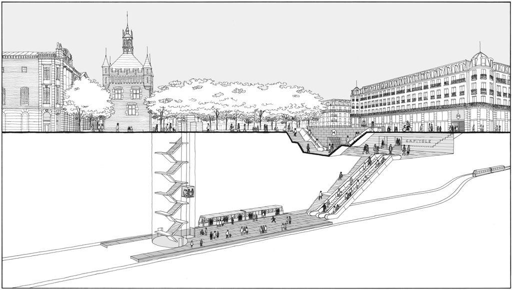 Réaménagement de la station de métro Capitole à Toulouse, dessin réalisé pour l'agence LM Communiquer