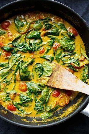 Kokos-Curry mit Spinat und Tomaten #veganerezepte