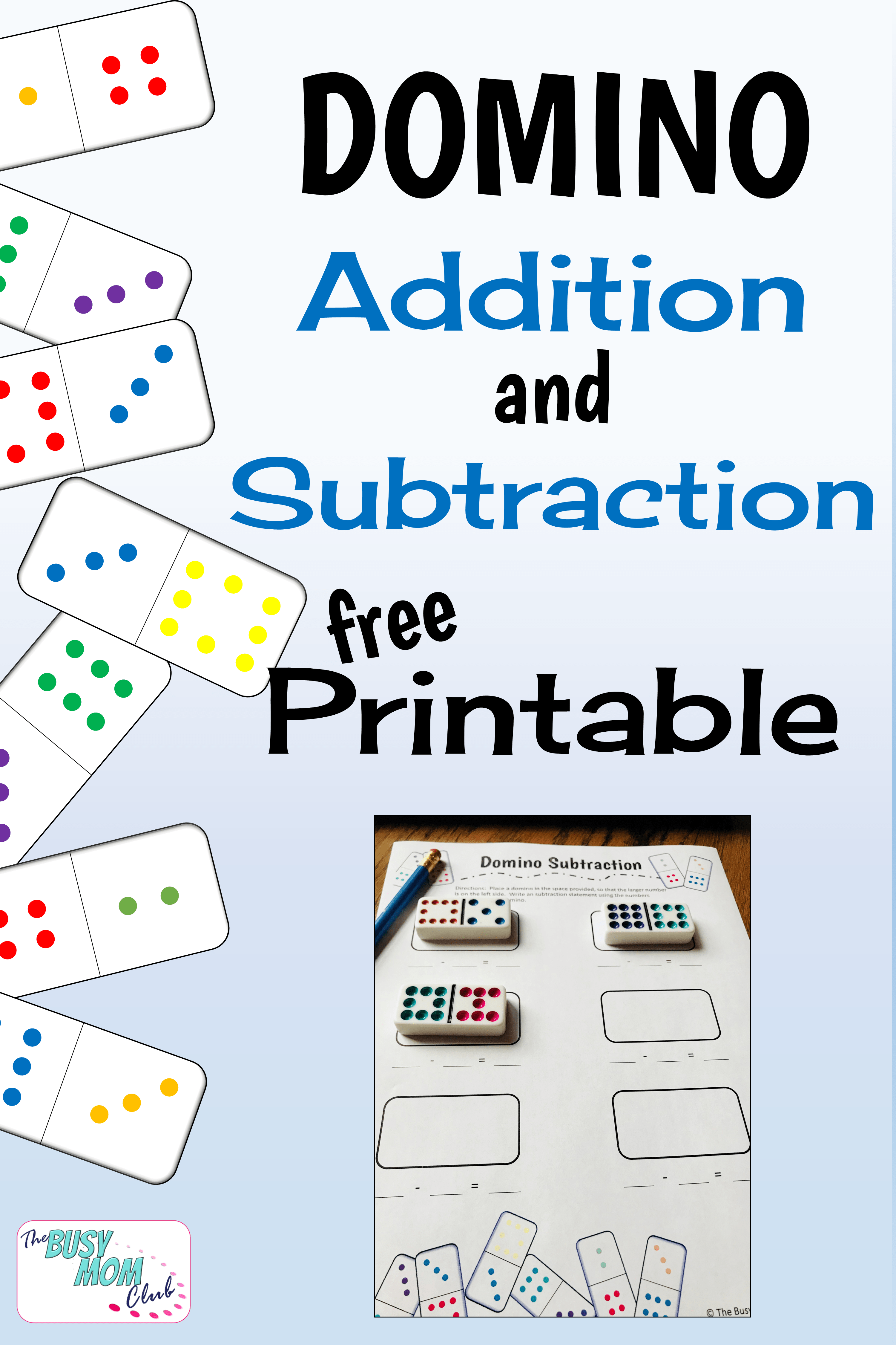 Free Domino Addition And Subtraction Printables