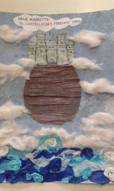 Magritte.  Il castello dei Pirenei. Rielaborazione. Giovanna Nigro