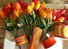Orange & Yellow Floral Pick and Ribbon (Lot)