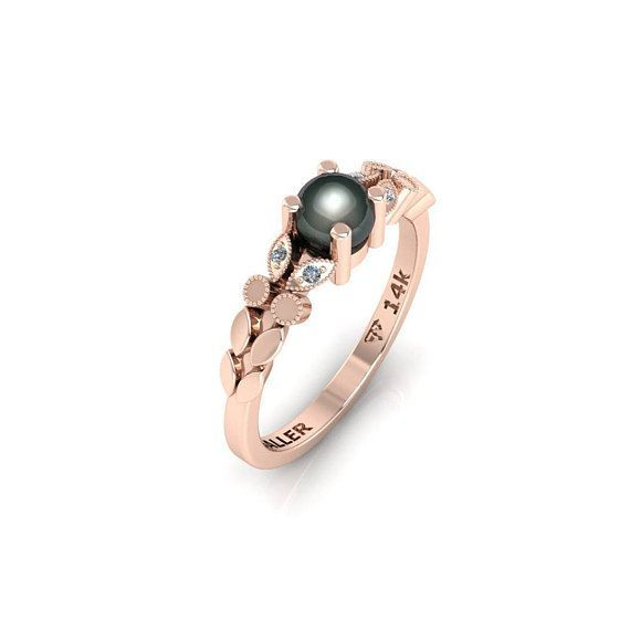 Black Pearl Engagement Ring Wedding Rose Gold